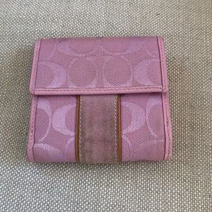 Coach Pink Signature Fold Over Wallet